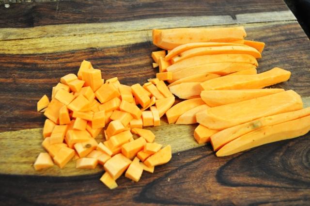 Cut Sweet Potatos