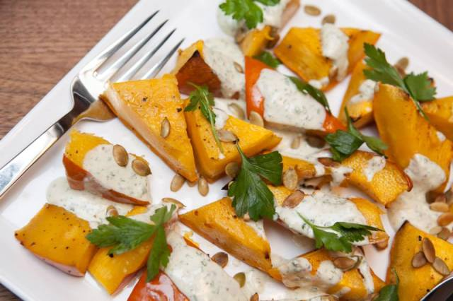 Roasted squash caraway yogurt pepitas