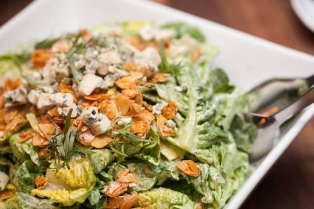 Salad of little gem almond Stilton egg emulsion