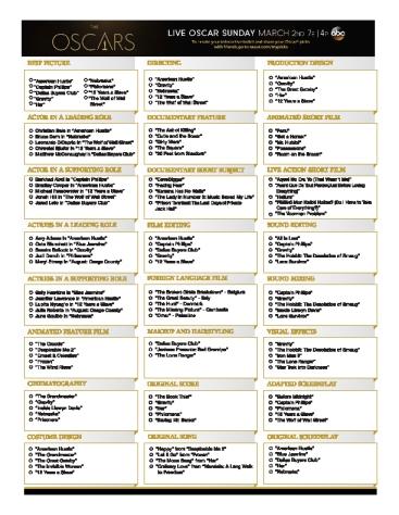 2014 Oscars Nominee Ballot